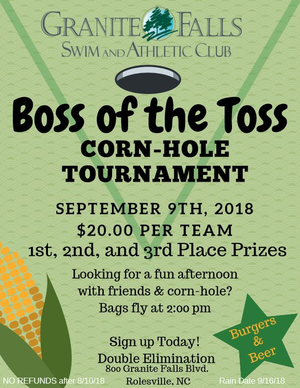 Boss of the Toss - Corn-Hole Tournament @ Granite Falls Swim & Athletic Club